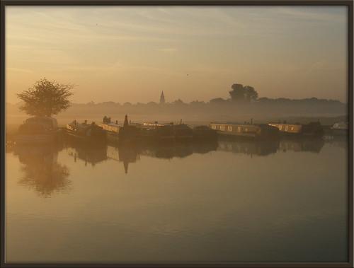 uk morning summer england sunlight mist reflection english water june thames marina sunrise river landscape dawn boat early scenery britain oxford british isis oxfordshire medley portmeadow binsey