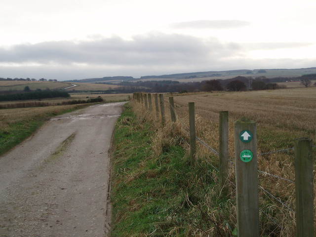 Sign at track junction near Inchgower