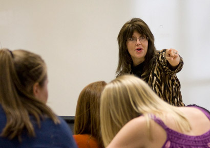 Visiting Instructor of Communication Teresa Raehpour teaches Newman students