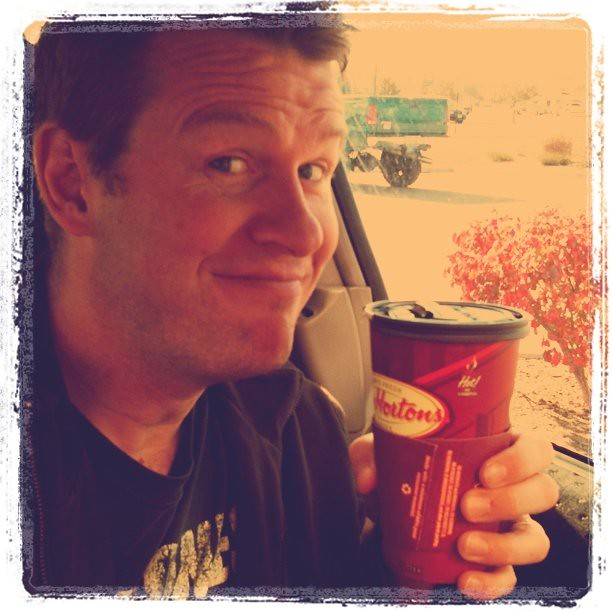 Dave with his Tim Hortons