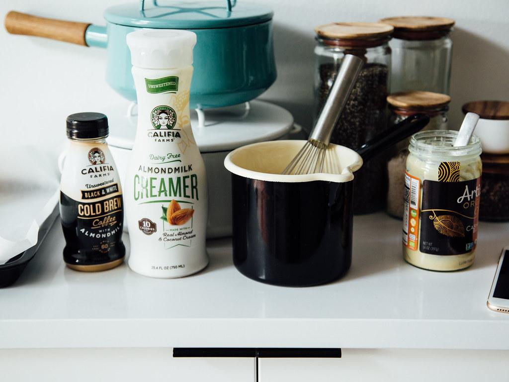 Black & white cold brew coffee cream pops in the making