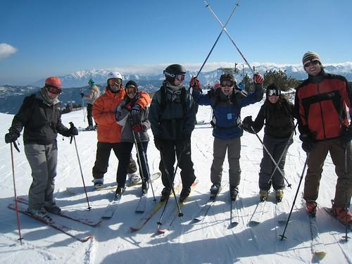 Gang of skiers