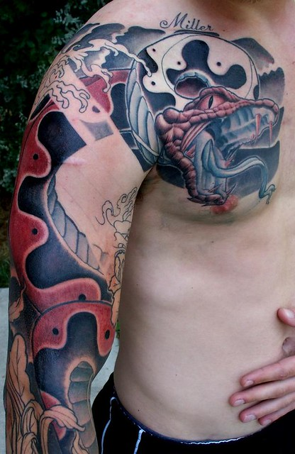 Japanese Style Snake Tattoo