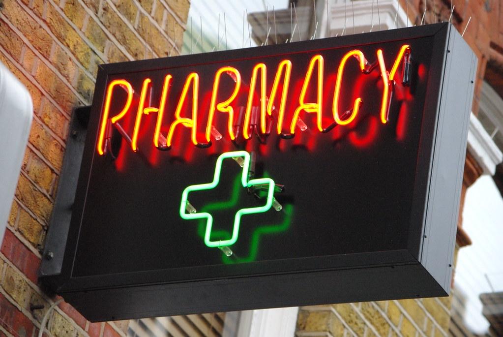 Pharmacy sign in Soho