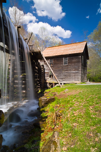 old sky usa cloud building nature water creek river landscape spring stream outdoor northcarolina historic charleston flowing gristmill freshwater turnbine waterpower mingusmill greatsmokymountainnationalpark us441 minguscreek johncothron cothronphotography 2jtrip2010
