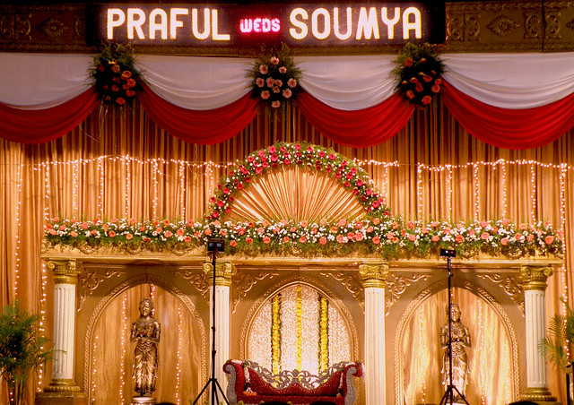 A typical south Indian marriage stage Decorated with flower and in the