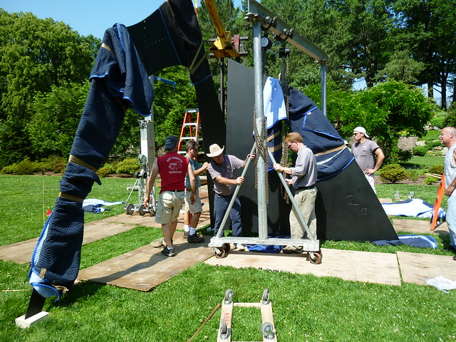 The second major component is wheeled into place. Photo by Elizabeth Peters.