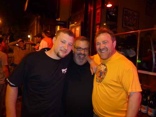 Brian Grossman, Tom Peters and Terence Sullivan outside Monk's