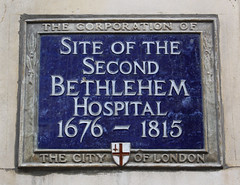 Photo of Bethlehem Hospital, London blue plaque