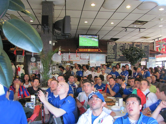 Watching World Cup in Vancouver: Italia Fans at Caffe Roma Sports Bar on Commercial Drive
