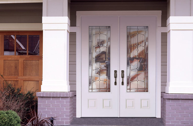 Feather river door fiberglass entry doors smooth white for White exterior double doors