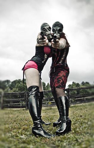 fashion female boots feminine apocalypse gasmask glamor apocalyptic corsets hotpants imeanreally drummy hesgood postapocalypticgirls