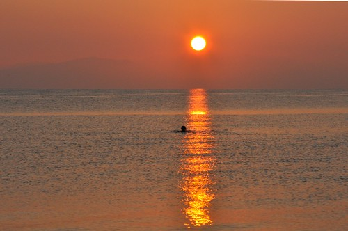 sea sun swimming sunrise dawn mediterranean hills greece corfu korfu risingsun ionian grecja benitses ελλάδα κέρκυρα kérkyra