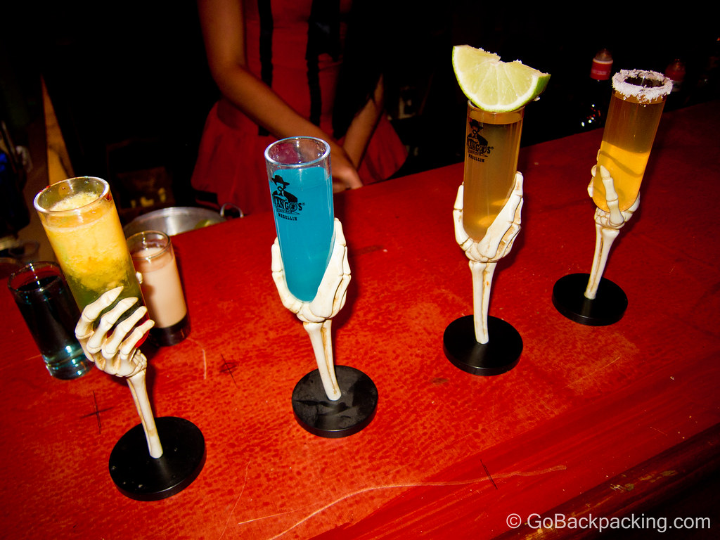 Colorful shots on display at the bar.