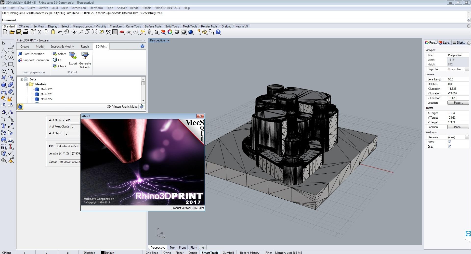 working with MecSoft Rhino3DPrint 2017 v3.0.319 for Rhino5 Win64