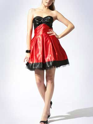 Black Dress on Black And Red Sweet Heart Strapless Satin Organza Cocktail Dress 17447
