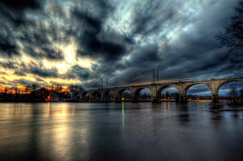 bridge sunset storm reflection philadelphia night pennsylvania bec hdr delawareriver photomatix westtrenton anawesomeshot —obramaestra—