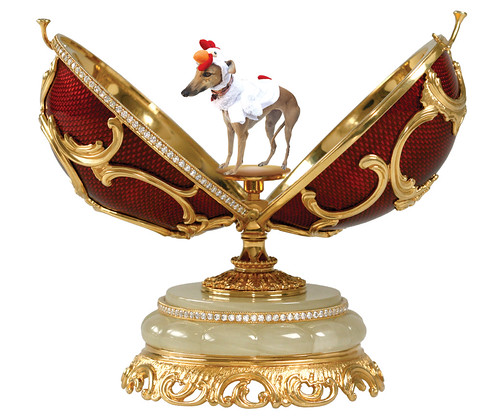gracie the greyhound dressed as a chicken in a faberge egg by martinichick