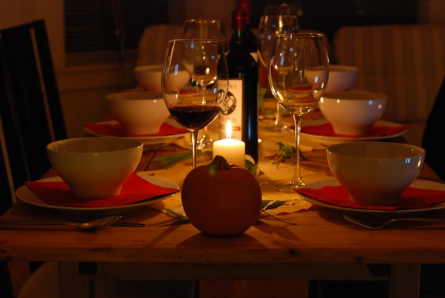 Wine is served with a fall-themed dinner.