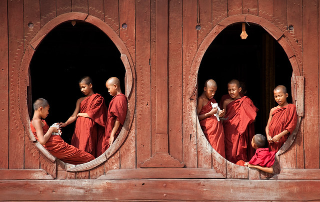 Monks at the windows - Myanmar