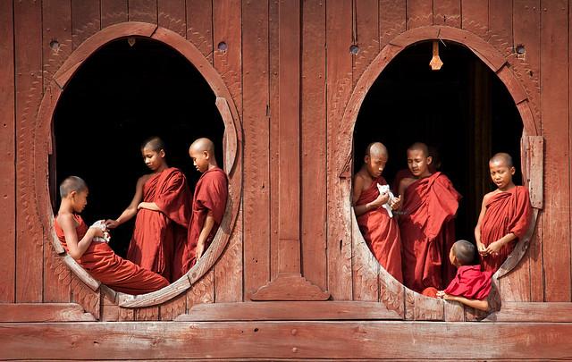 0188 Monks at the windows--Myanmar
