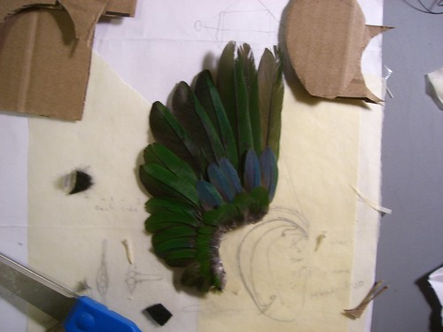 Completed feather ear
