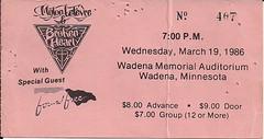03/19/86 Mylon LeFevre & Broken Heart/Found Free @ Wadena, MN (Ticket)