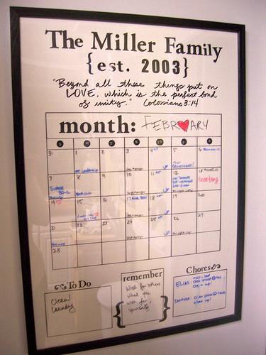 Dry Erase Calendar Diy : Diy dry erase family calendar