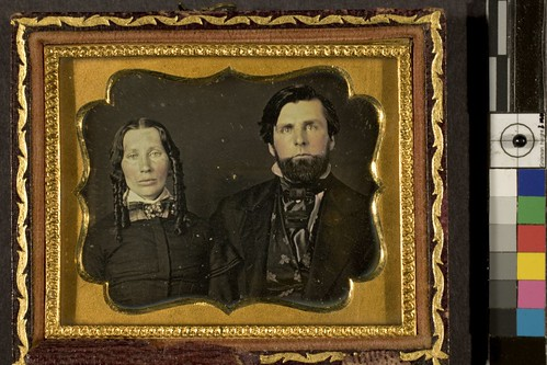 Portrait of unidentified woman and man