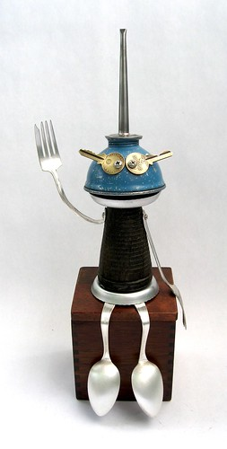 Taylor - Found Object Robot Assemblage Sculpture By Brian Marshall