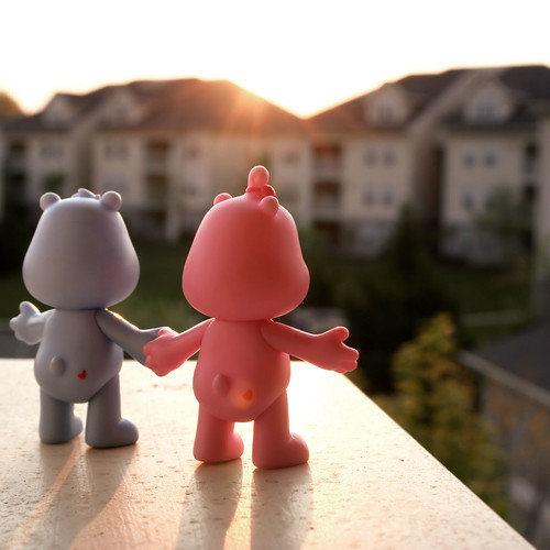 pink blue sunset hearts toys frombehind cheer carebears grumpy cheerbear daysix grumpybear project365 object365 oneobject365daysproject
