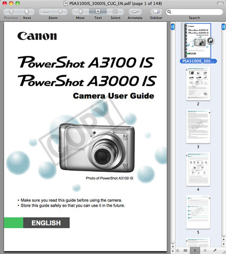 Canon A3100 IS Manual