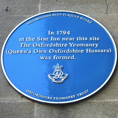 Photo of Oxfordshire Yeomanry blue plaque
