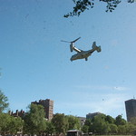 Marine Week Boston, 2010: Bell-Boeing MV-22B Osprey tilt-rotor aircraft flying away from Boston Common