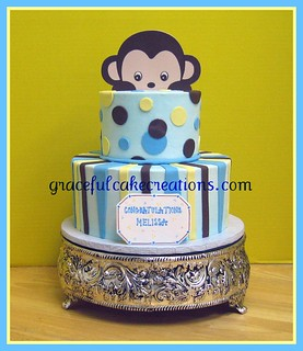 Mod Monkey Baby Shower Cake