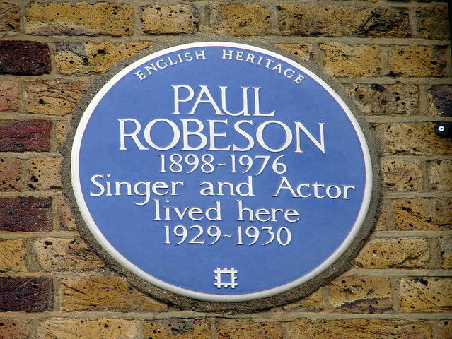 Paul Robeson blue plaque - Paul Robeson 1898-1976 singer and actor lived here 1929-1930