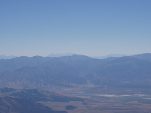 The Oquirrh range with Mount Timpanogos and Cascade Mountain of the Wasatch in the background from the summit of Desert Peak.
