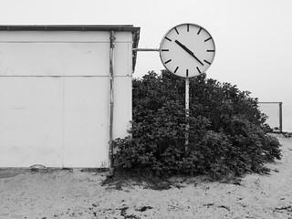 Image of Bellevue Strand near Charlottenlund. bw clock beach copenhagen denmark time bellevue img1735