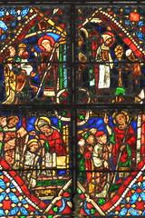 Détail du Vitrail de la vie de St-Marcouf - Cathédrale de Coutances - Manche - Basse Normandie