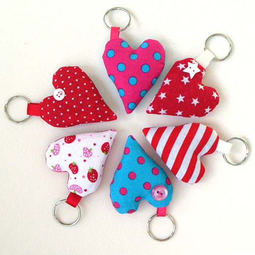 Lavender heart keyrings  by apple cottage company