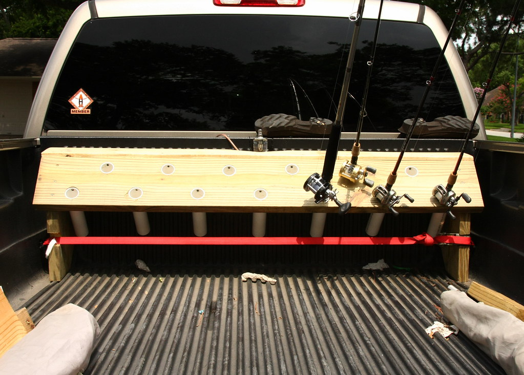 Easy truck bed rod holder 20 bucks and a 6 pack the for Fishing pole rack for truck