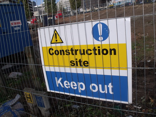 Construction site Masshouse Lane / Albert Street - Construction site Keep out - sign
