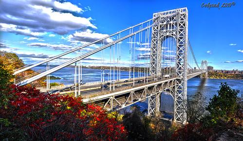 nyc bridge autumn sunset ny newyork clouds marina sunrise reflections newjersey skies shadows dusk nj bridges sunsets highways hdr gwb georgewashingtonbridge fallinnewjersey newjerseyroads codesad