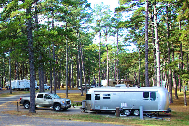 Airstream and other RVs in Petit Jean Campground,, Petit Jean State Park, Arkansas, November 28, 2009