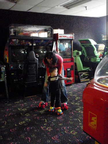 learning to skate in the roller arcade   PB280038