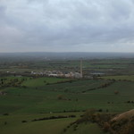 View of the power station from Westbury Hill, Bratton Downs, Westbury, Wiltshire, South West England