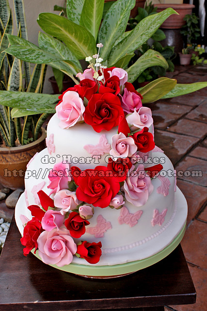 Theme colour Red Light Pink and White Fondant Cake Pricing