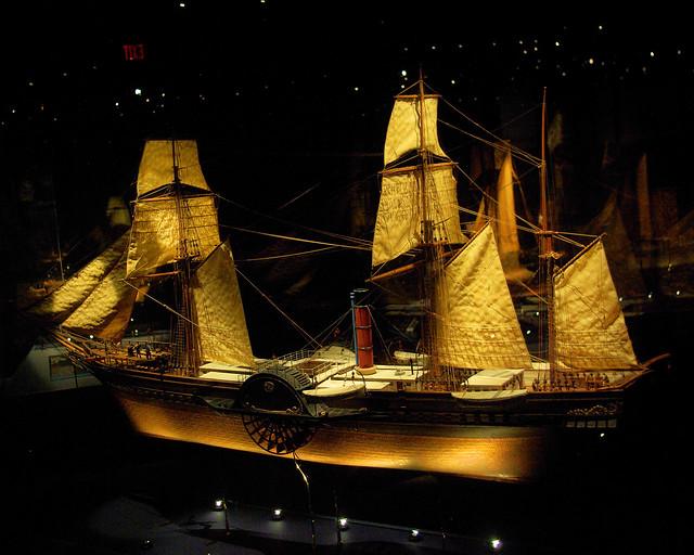 Britannia 1840, British Merchant Steamship miniature model by August F. Crabtree, Mariner's Museum,  Newport News, Virginia