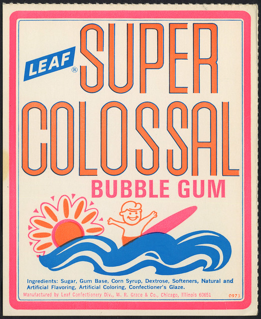 Candy Machine Vending Insert Card - Leaf Super Colossal bubble gum - surfer - 1960's 1970's