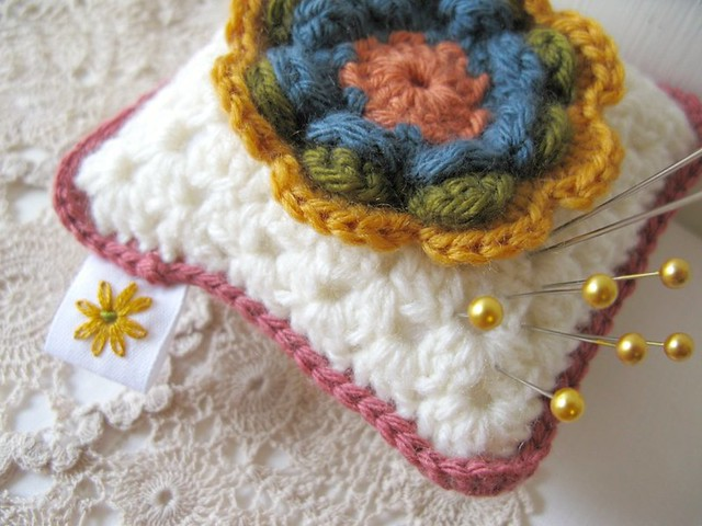 Phyllis, Vintage Rose crochet pincushion by Emma Lamb